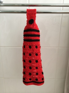 A Dalek hanging towel - from a Ravelry pattern by Critical Stitch